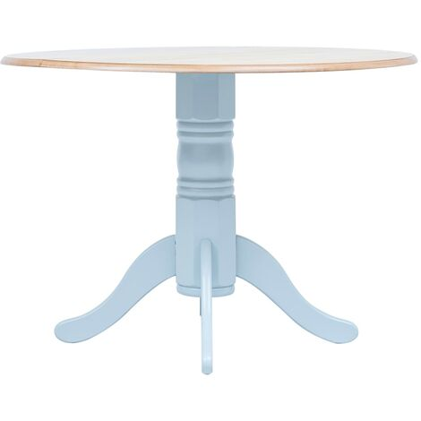 vidaXL Solid Rubber Wood Dining Table Retro Style Durable MDF Tabletop Easy to Clean Round Wooden Dinner Kitchen Table Multi Colours
