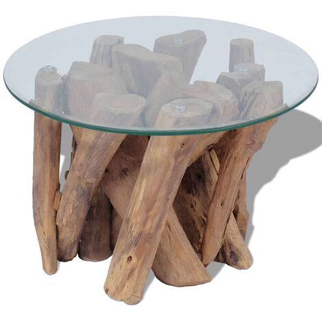 vidaXL Solid Teak Driftwood Coffee Table Wooden Home Living Room Accent Side End Couch Tea Telephone Table Stand Furniture Two Shapes
