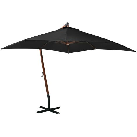 vidaXL Sombrilla colgante con palo madera maciza de abeto negro 3x3 m - Negro