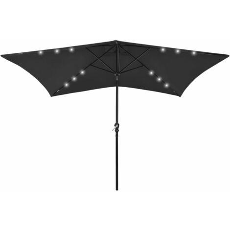 vidaXL Sombrilla con LED y poste de acero negro 2x3 m