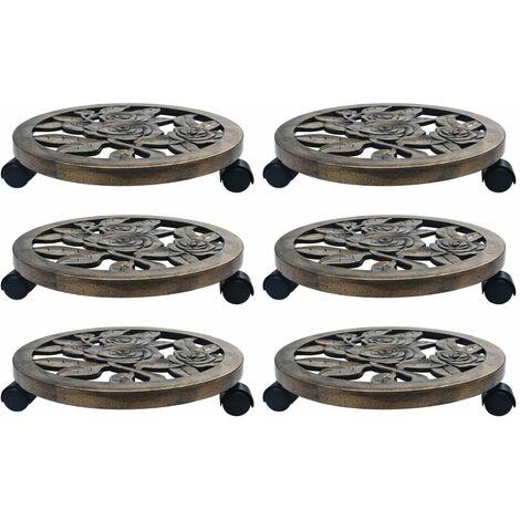 vidaXL Soporte con ruedas de plantas 6 uds plástico color bronce 38 cm - Marrón