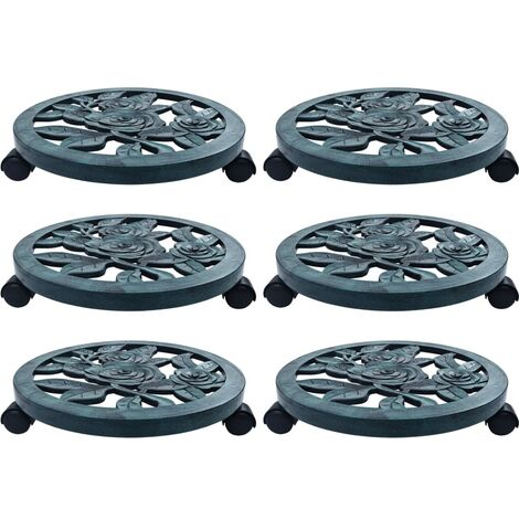 vidaXL Soporte con ruedas para plantas 6 unidades plástico verde 38 cm - Verde