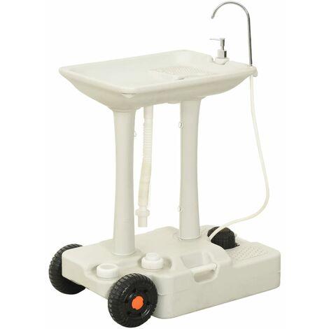 vidaXL Soporte de lavado de manos para camping con dispensador 35 L - Gris