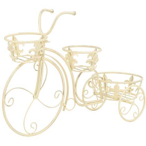 vidaXL Soporte de plantas con forma de bicicleta metal estilo vintage - Blanco