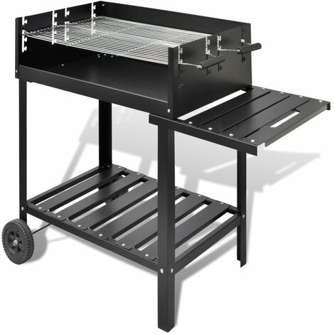 vidaXL Soporte para barbacoa de carbón con 2 ruedas - Negro