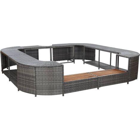 vidaXL Square Spa Surround Grey 268 x 268 x 55 cm Poly Rattan - Grey