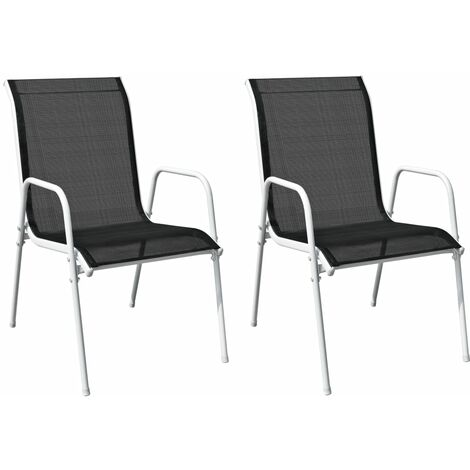 vidaXL Stackable Garden Chairs 2 pcs Steel and Textilene Black - Black