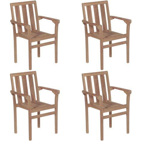 vidaXL Stackable Garden Chairs 4 pcs Solid Teak Wood - Brown
