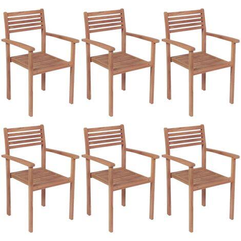 vidaXL Stackable Garden Chairs 6 pcs Solid Teak Wood - Brown