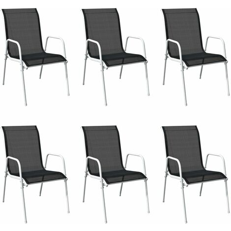 "main image of ""vidaXL Stackable Garden Chairs 6 pcs Steel and Textilene Black - Black"""