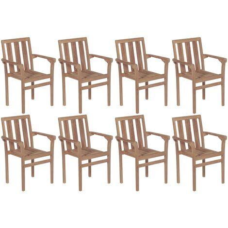 vidaXL Stackable Garden Chairs 8 pcs Solid Teak Wood - Brown