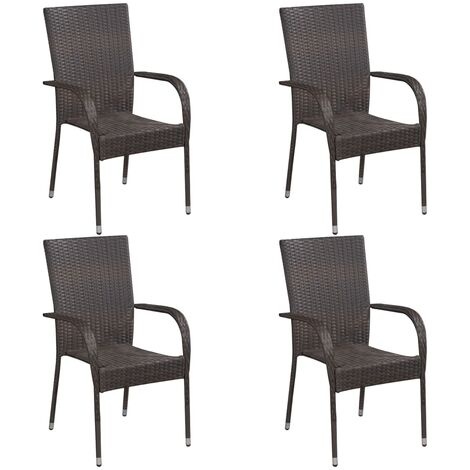 vidaXL Stackable Outdoor Chairs 4 pcs Poly Rattan Brown - Brown