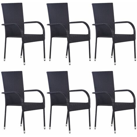 vidaXL Stackable Outdoor Chairs 6 pcs Poly Rattan Black - Black
