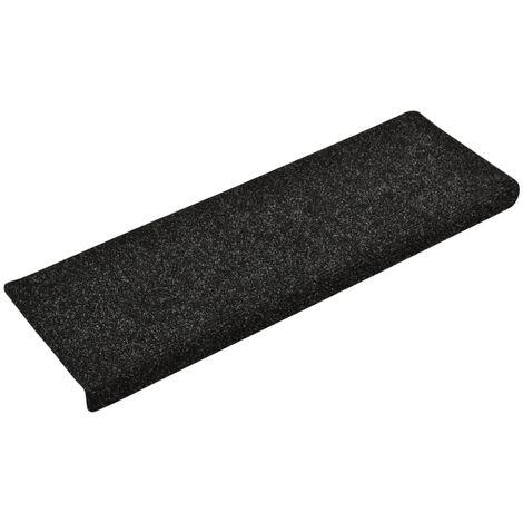 vidaXL Stair Mats 10 pcs Black 65x25 cm Needle Punch - Black
