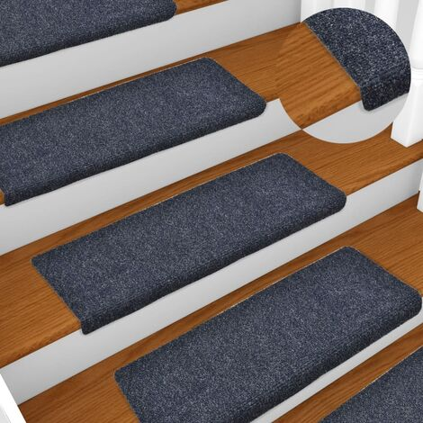 vidaXL Stair Mats 15 pcs Needle Punch 65x25 cm Blue - Blue