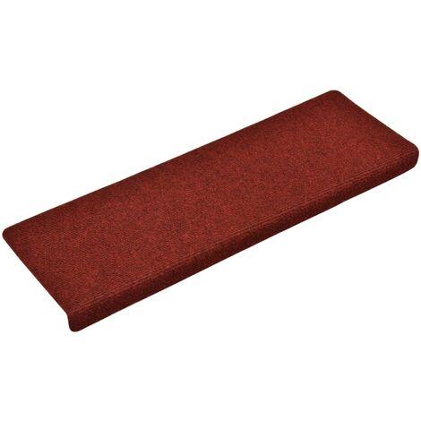 vidaXL Stair Mats 15 pcs Needle Punch 65x25 cm Red - Red