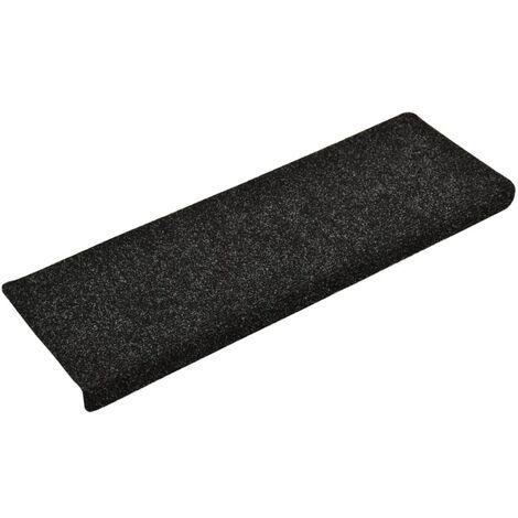 vidaXL Stair Mats 5 pcs Black 65x25 cm Needle Punch - Black