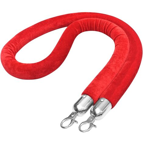 """main image of """"vidaXL Stanchion Stand Rope Red and Silver Velvet - Red"""""""