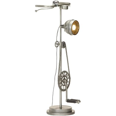 vidaXL Stand Lamp in Bike Design Iron - Silver