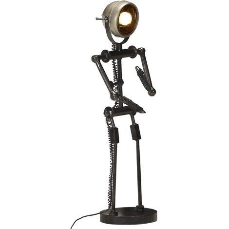 vidaXL Stand Lamp with Motorbike Headlight Doll Shape E27 - Black