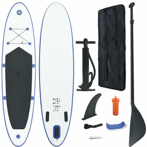 """main image of """"vidaXL Stand Up Paddle Board Set SUP Surfboard Inflatable Blue and White - Blue"""""""
