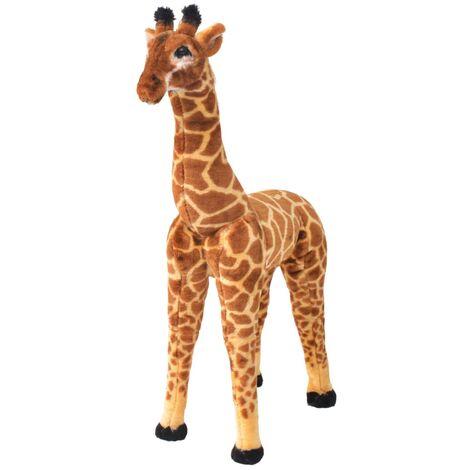 vidaXL Standing Plush Toy Giraffe Brown and Yellow XXL - Brown