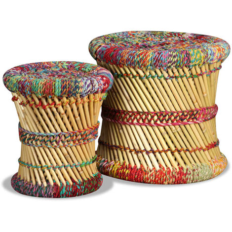 vidaXL Stools with Chindi Details 2 pcs Multicolour Bamboo - Multicolour