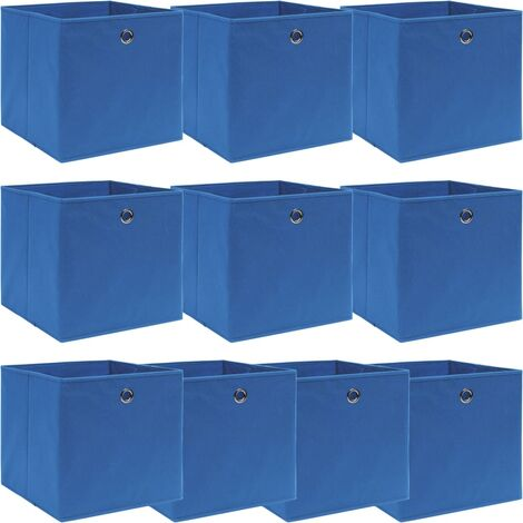 vidaXL Storage Boxes 10 pcs Blue 32x32x32 cm Fabric - Blue