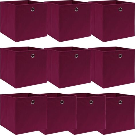 vidaXL Storage Boxes 10 pcs Dark Red 32x32x32 cm Fabric - Red