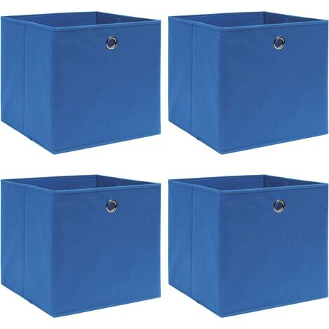 vidaXL Storage Boxes 4 pcs Blue 32x32x32 cm Fabric - Blue
