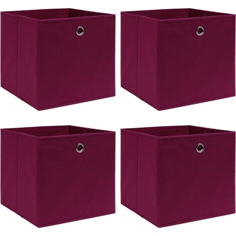 vidaXL Storage Boxes 4 pcs Dark Red 32x32x32 cm Fabric - Red