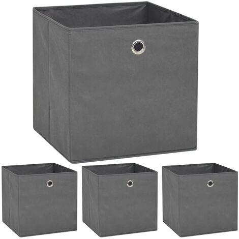 "main image of ""vidaXL 4/10x Storage Boxes Non-woven Fabric 32x32x32 cm Storage Cabinet Storage Chest Storage Bin Home Living Room Study Bedroom Black/Grey"""