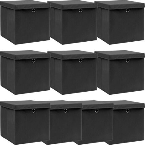 vidaXL Storage Boxes with Lid 10 pcs Black 32x32x32 cm Fabric - Black