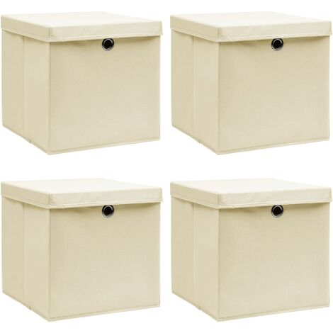 vidaXL Storage Boxes with Lid 4 pcs Cream 32x32x32 cm Fabric - Cream