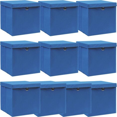 vidaXL Storage Boxes with Lids 10 pcs Blue 32x32x32 cm Fabric - Blue