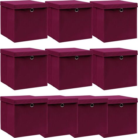 vidaXL Storage Boxes with Lids 10 pcs Dark Red 32x32x32 cm Fabric - Red