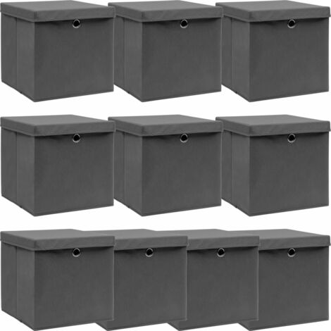 vidaXL Storage Boxes with Lids 10 pcs Grey 32x32x32 cm Fabric - Grey