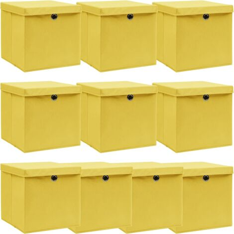 vidaXL Storage Boxes with Lids 10 pcs Yellow 32x32x32 cm Fabric - Yellow