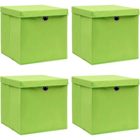 vidaXL Storage Boxes with Lids 4 pcs Green 32x32x32 cm Fabric - Green
