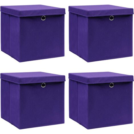 vidaXL Storage Boxes with Lids 4 pcs Purple 32x32x32 cm Fabric - Purple