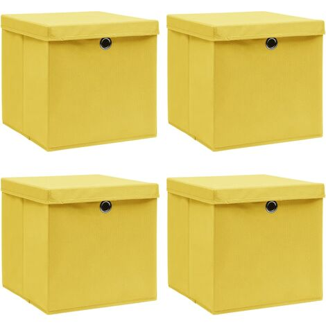 vidaXL Storage Boxes with Lids 4 pcs Yellow 32x32x32 cm Fabric - Yellow