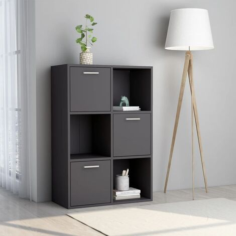 "main image of ""vidaXL Storage Cabinet 60x29.5x90 cm Chipboard High Gloss Grey - Grey"""