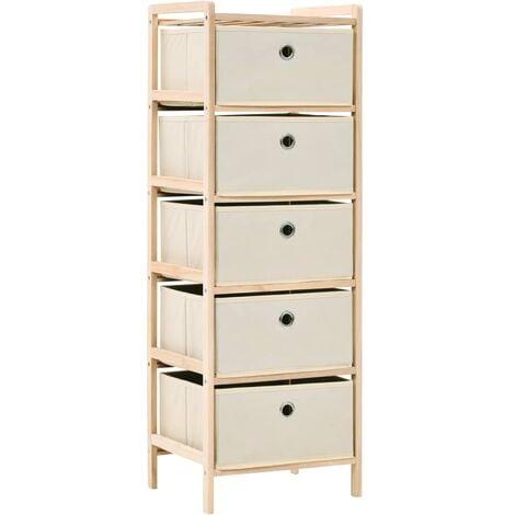vidaXL Storage Rack Home Living Room Indoor Furniture Storage Basket Cabinet Organiser Drawer Unit Cedar Wood Beige with 3/5 Baskets Fabric/Nonwoven