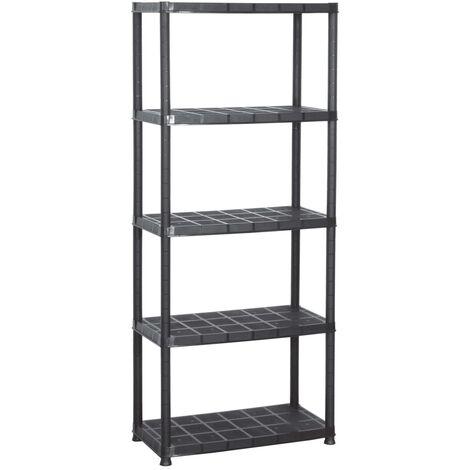 "main image of ""vidaXL Storage Shelf 5-Tier Black 71x38x170 cm Plastic - Black"""