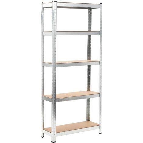 vidaXL Storage Shelf Home Livingroom Bedroom Organiser Rack Outdoor Indoor Furniture Corner Workshop Warehouse Shelf Silver Steel and MDF 1/3 pcs