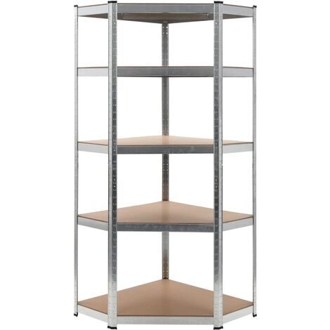vidaXL Storage Shelf Home Livingroom Bedroom Organiser Rack Outdoor Indoor Furniture Corner Workshop Warehouse Shelf Silver Steel and MDF 90x90x180 cm/75x75x180 cm