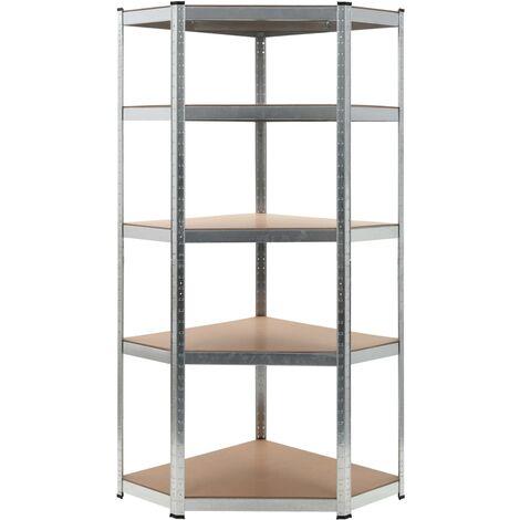 """main image of """"vidaXL Storage Shelf Home Livingroom Bedroom Organiser Rack Outdoor Indoor Furniture Corner Workshop Warehouse Shelf Silver Steel and MDF 90x90x180 cm/75x75x180 cm"""""""