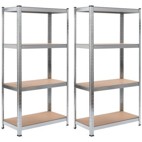 "main image of ""vidaXL Storage Shelves 2 pcs Silver 80x40x160 cm Steel and MDF - Silver"""