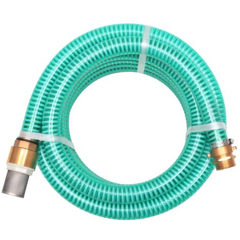 vidaXL Suction Hose with Brass Connectors Water Pipe Green/Black Multi Sizes