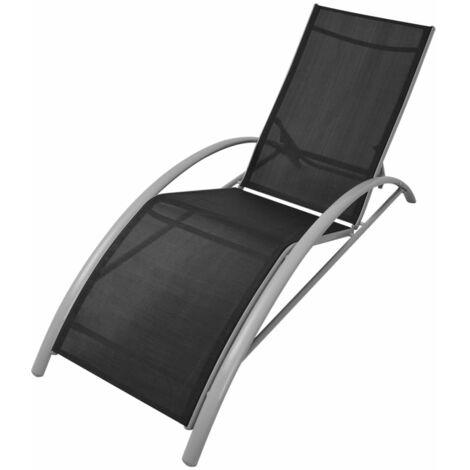 vidaXL Sun Lounger Aluminium Black - Black